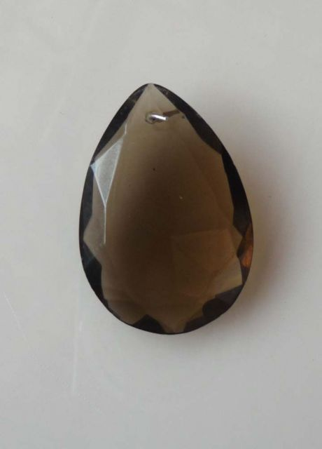 cr039 Teardrop smokey quartz 38mm x 24mm