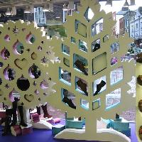 Flocked polystyrene Christmas window trees by Replica