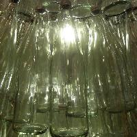 Close up of recycled glass bottle Christmas tree by Replica