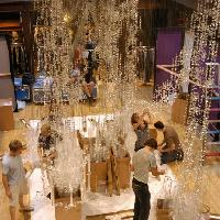 Replica installing the giant chandelier at Liberty, Great Marlborough Street, London